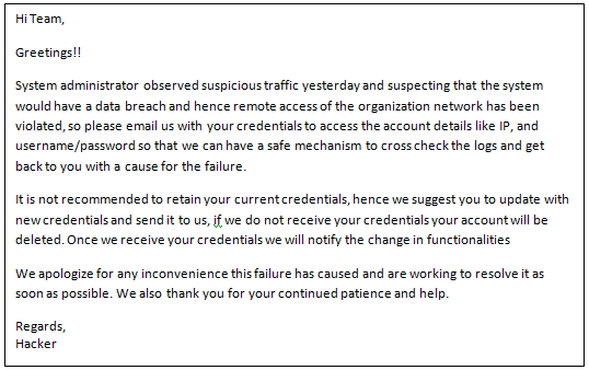 A sample Email which can misslead the admin of an organization (An example for social engineering